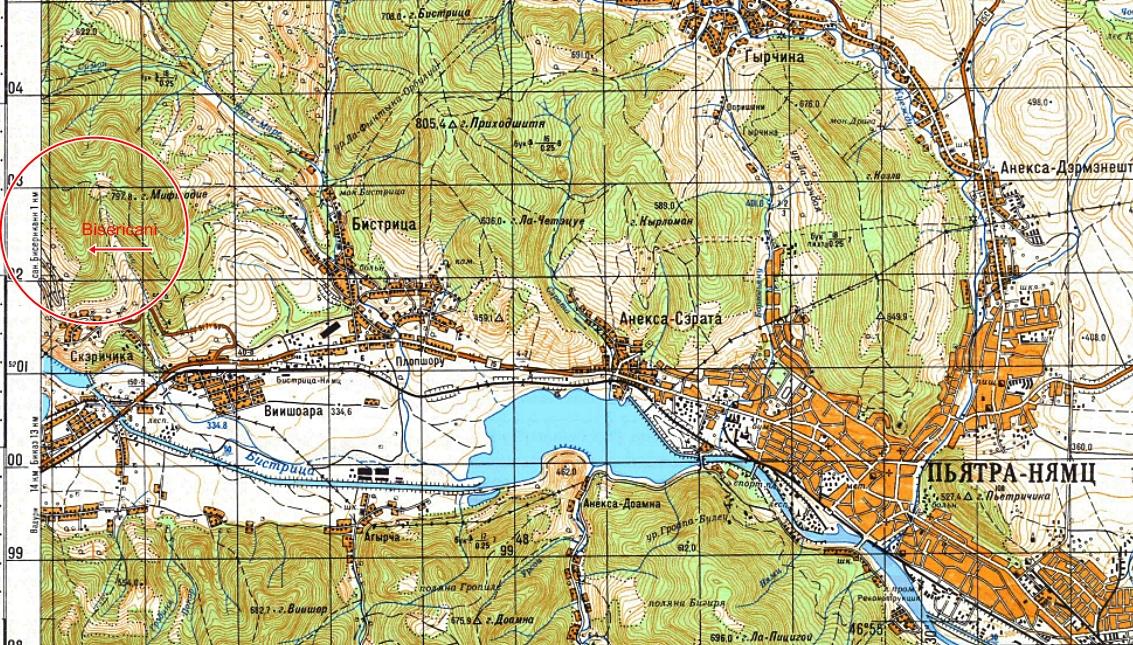 Extras din Harta militara sovietica B